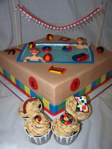 Swimming Pool Cake and Cupcakes for Birthday