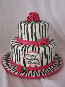 Girly Zebra Birthday Cake
