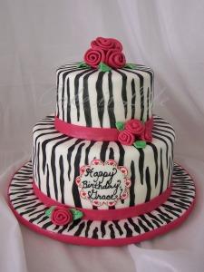 Girly Zebra Birthday Cake