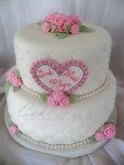 Quilted, Pink Roses Baptism Cake