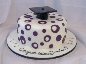 Purple Polka Dotted Grad Cake