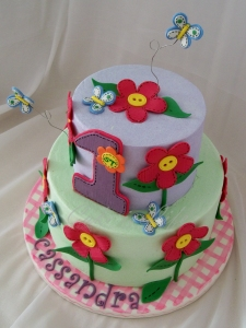 Butterflies & Flowers 1st Birthday Cake