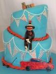 Topsy Turvy Vintage Toy Baby Shower Cake