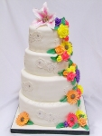 Spring Flowers Cascade Wedding Cake