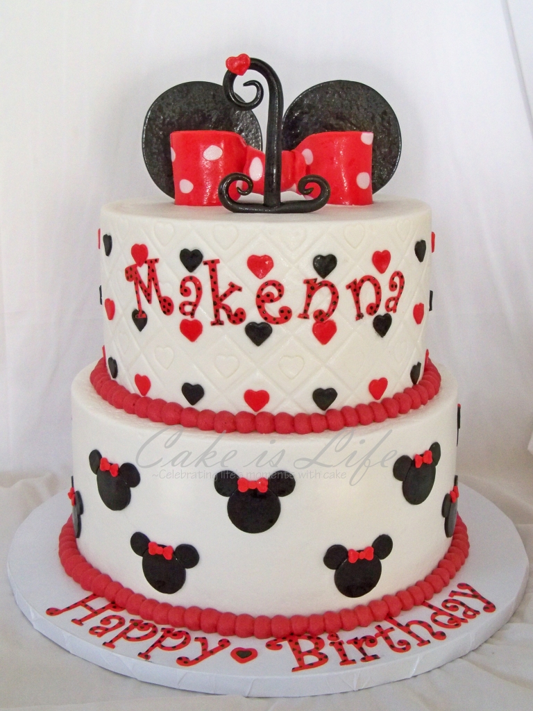 Sensational Minnie Mouse 1St Birthday Cake Cake Is Life Personalised Birthday Cards Veneteletsinfo