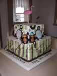 Monkey & Flamingo Baby Shower Cake