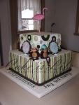 Monkey & Flamingo Baby Shower Cake