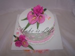 Pink Flowers Wedding Shower Cake