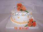 Orange Flowers Wedding Shower Cake