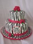 Girly Zebra-Striped Birthday Cake