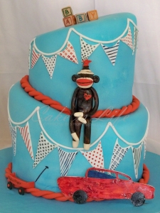 Topsy Turvy Vintage Toy Baby Shower Cake