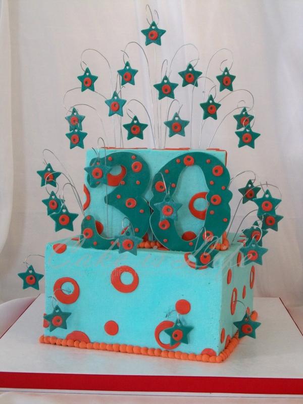 Circles & Stars 30th Birthday Cake