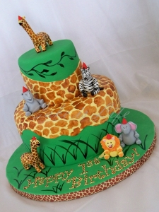 Giraffe/Jungle-Themed 1st Birthday Cake