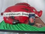 Arkansas Razorbacks Cake, size comparison