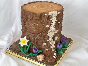 Spring Tree Trunk Cake